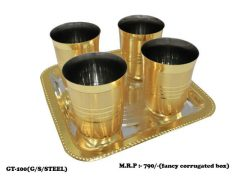 4 Glass with Tray Set