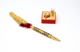 Feather Pen with Stand