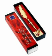 Red Rooster Feather Pen